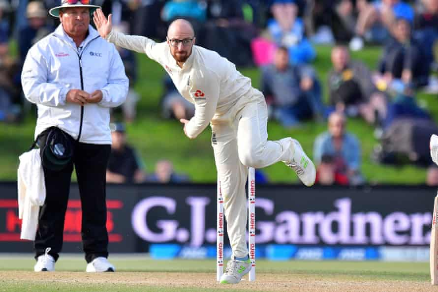 Jack Leach bowls during day five of his debut Test against New Zealand.