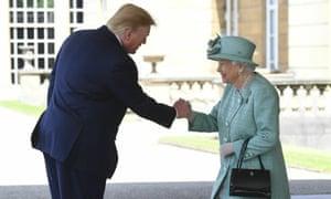 Donald Trump greets the Queen.