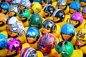 Helmeted duck keychains are offered for sale