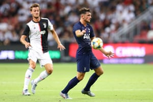 Troy Parrott in action for Tottenham against Juventus in the International Champions Cup.
