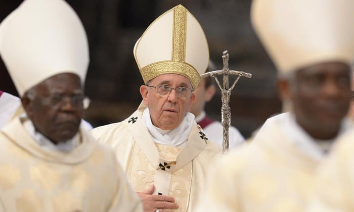 Pope Francis leads a mass in St Peter's basilica before the opening of the general assembly of Caritas Internationalis. 'The planet has enough food for all, but it seems that there is a lack of willingness to share it with everyone,' he said.
