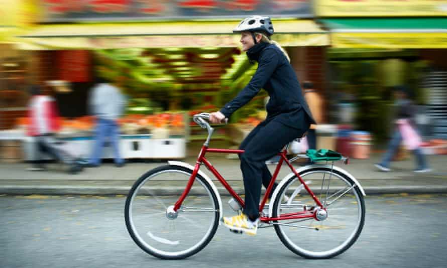 Woman cycling.