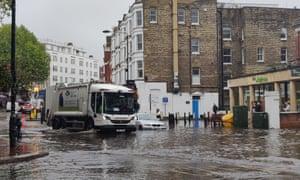 Flooding in West Hampstead, London.