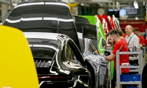 A factory of German car manufacturer Porsche in Stuttgart. The country's economy contracted by 0.1% in the second quarter of 2019.