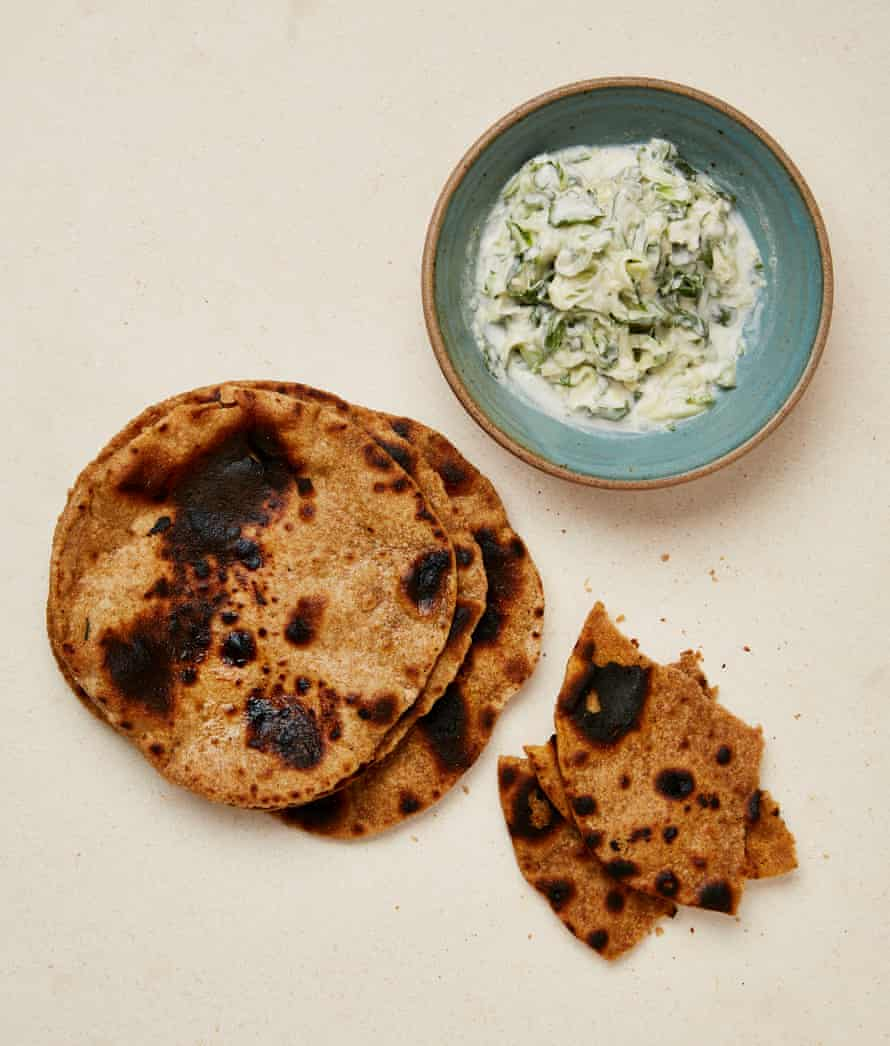 Yotam Ottolenghi's teff flatbread with coconut, cucumber and lime salsa