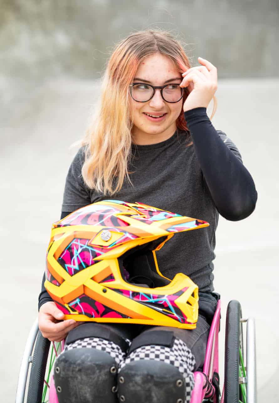 Lily Rice, a wheelchair motocross rider, pushes to make skateparks more accessible to all, like this one in Haverfordwest, Wales.