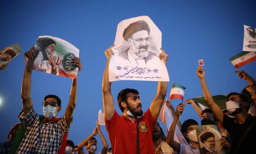 Ebrahim Raisi supporters after the announcement of his win in Iran's presidential election