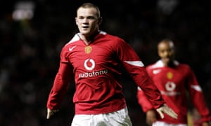 Wayne Rooney celebrates after scoring one of a hat-trick of goals on his Manchester United debut, against Fenerbahce in 2004