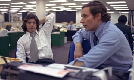 Woodward and Carl Bernstein sit in the newsroom of the Washington Post in May 1973.