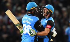 Worcestershire Rapids' Ben Cox celebrates hitting the winning runs with Ed Barnard to win the Vitality T20 Blast Final.