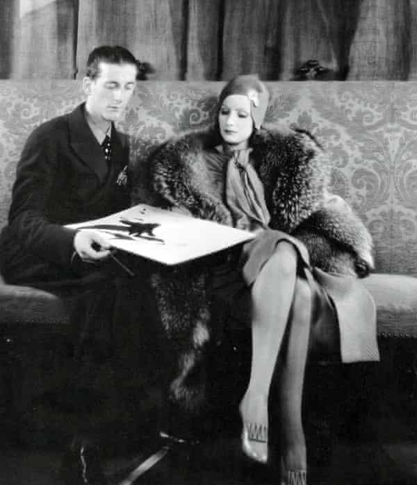 Hollywood costume designer Gilbert Adrian, known professionally as Adrian, with Greta Garbo.