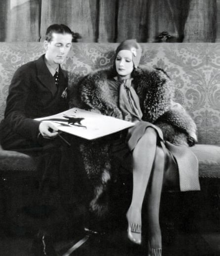 Hollywood costume designer Gilbert Adrian, known professionally as Adrian, with Greta Garbo.