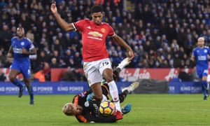 Marcus Rashford of Manchester United collides with Kasper Schmeichel of Leicester City.