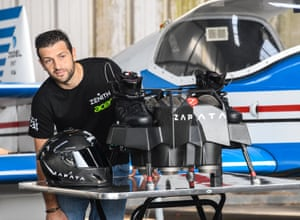 Zapata inspects his jet-powered hoverboard before a test flight in Saint-Inglevert, northern France.