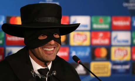 Shakhtar Donetsk manager dresses up as Zorro after Champions League win – video