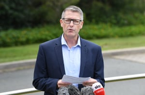 St Vincent's Care Services CEO, Lincoln Hopper is seen during a press conference at the Holy Spirit Nursing Home, Carseldine in Brisbane on Wednesday.