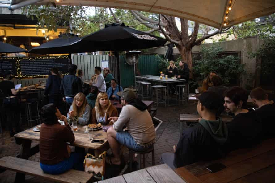 The beer garden at the Courthouse hotel in Newtown.
