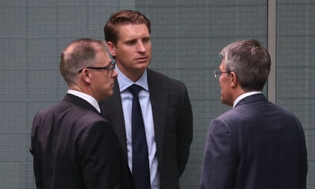 Andrew Hastie (centre) and Anthony Byrne (left) released a statement on behalf of security and intelligence committee rejecting a dinner invitation at the Qatari ambassador's residence in Canberra.
