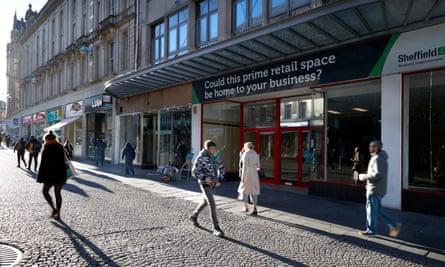 Empty shops on Fargate, in Sheffield city centre.
