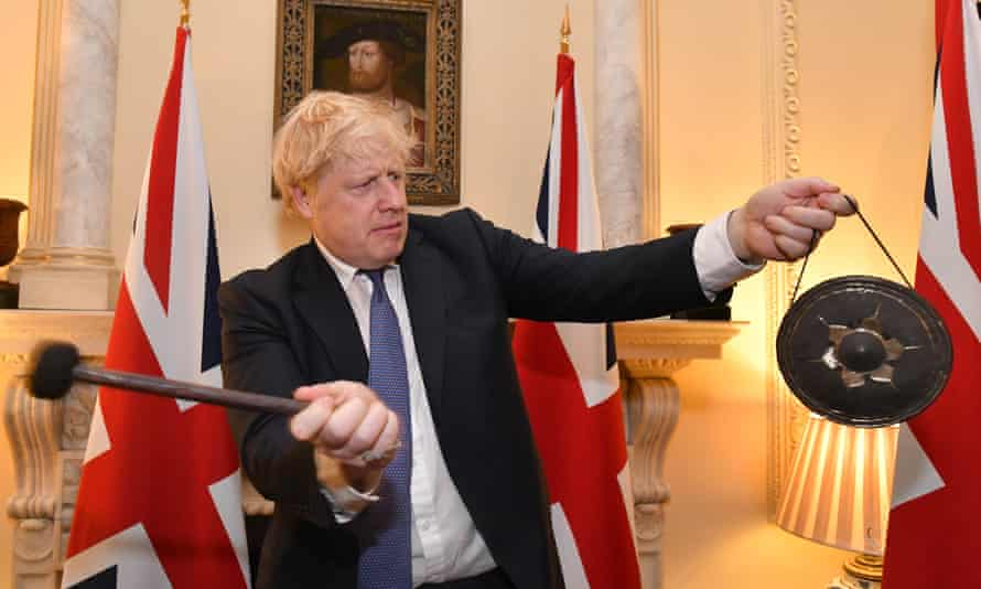 Boris Johnson in Downing Street celebrating the UK leaving the EU, 31 January 2020