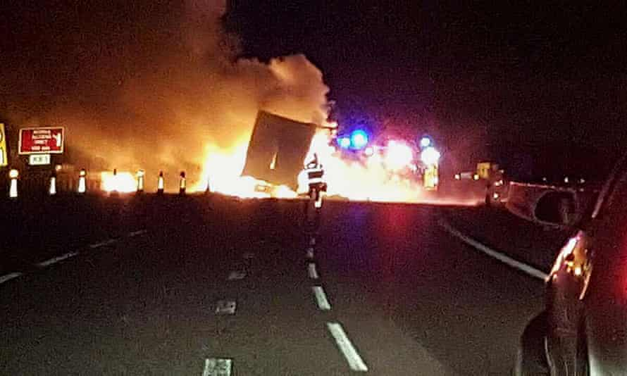 The lorry fire means part of the M6 will stay closed for much of Saturday.