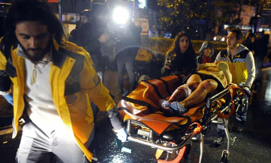 One of those injured in the nightclub attack in Istanbul is rushed to hospital.