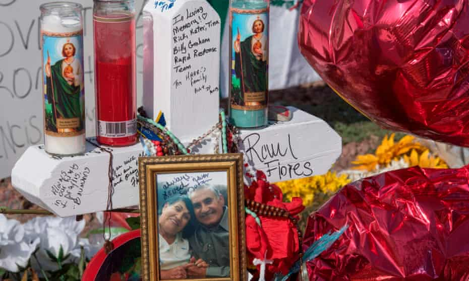 Signs and crosses at the makeshift memorial for victims El Paso shooting in El Paso, Texas.