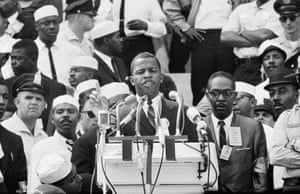 "Lewis as Chair of the Student Non-Violent Coordinating Committee, addressing marchers at the Lincoln Memorial in the March on Washington in August 1963. This was where Martin Luther King delivered his ""I have a dream"" speech."