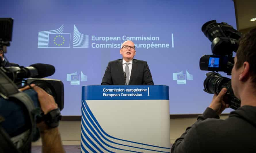 Frans Timmermans, of the European Commission, announces the decision to launch the inquiry into Poland