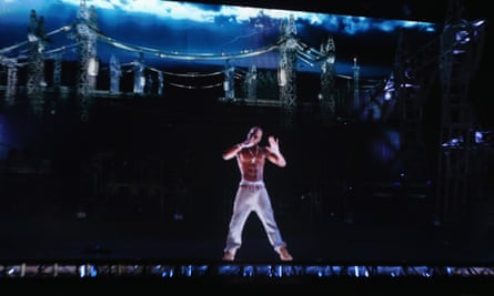 A hologram of the late rapper Tupac appears at the 2012 Coachella festival.