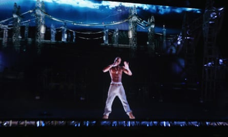 A hologram of Tupac Shakur performs at the Coachella festival in 2012