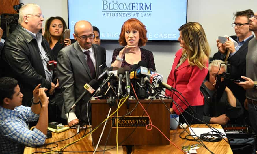 Griffin holds a press conference about her controversial photograph in June 2017