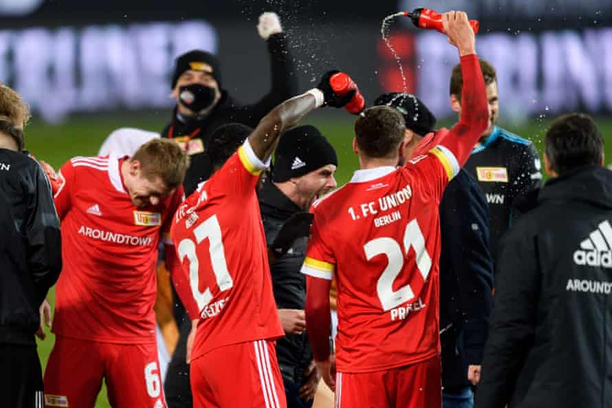 Union Berlin celebrate after beating Dortmund.