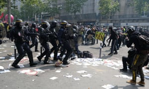 Police clash with protesters in Paris during the May Day demonstration