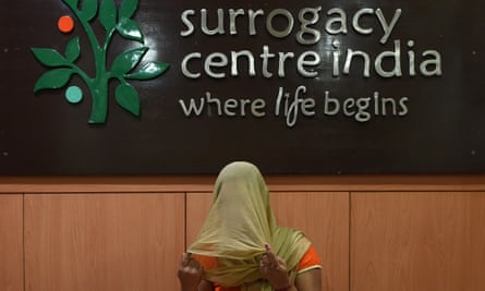 A surrogate mother poses at Surrogacy Centre India clinic in New Delhi