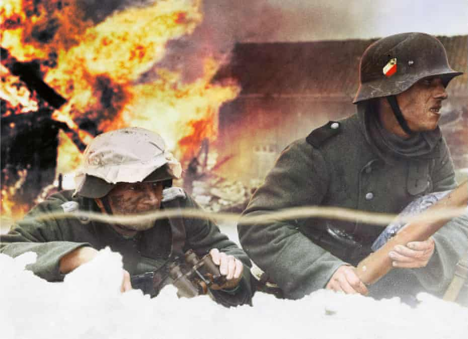 German troops advance north from Oslo during the invasion of Norway in April 1940: black and white image coloured by artist Marina Amaral