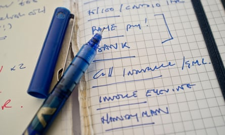 a note pad with list on