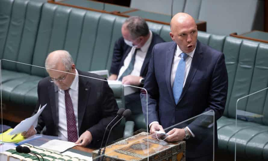 The leader of the House Peter Dutton speaks in parliament