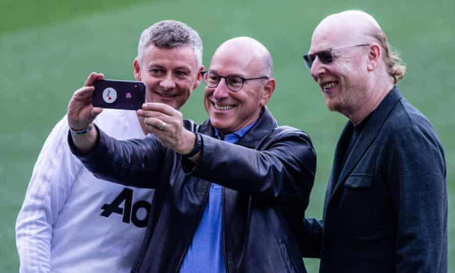 Avram and Joel Glazer with Ole Gunnar Solskjær before Manchester United's Champions League match in Barcelona in April 2019.