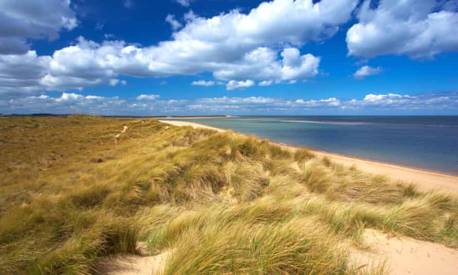 Holkham Bay and Burnham Harbour viewed from the dunes anear Burnham Overy Staithe.