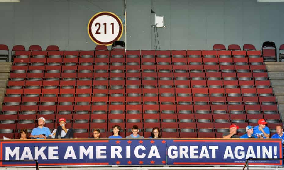 Supporters look on as Republican Presidential nominee Donald Trump addresses in Cincinnati, Ohio, on Thursday.