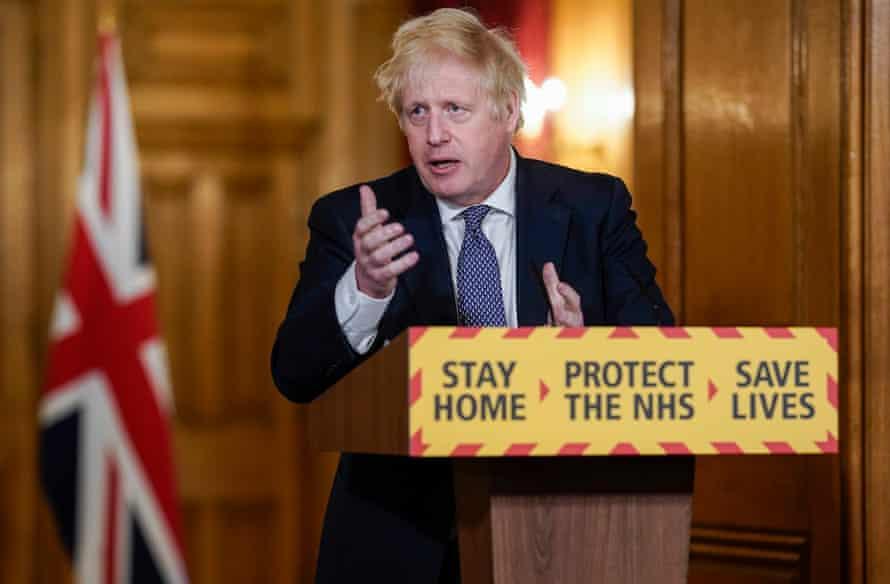 Regular screen presence … Boris Johnson conducts a coronavirus briefing in April.