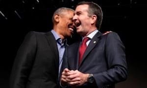 Barack Obama and Ralph Northam in Richmond, Virginia.