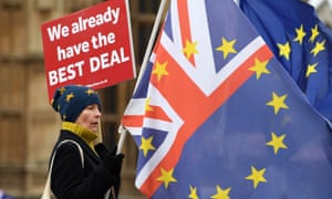 A pro-EU protester outside parliament on18 December.
