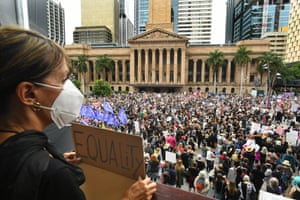 Large crowds gather at King George Square in Brisbane