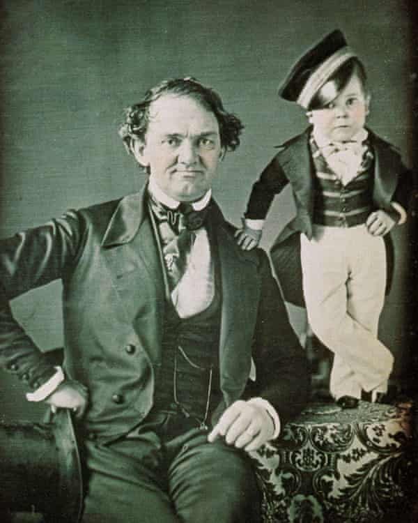 The circus master PT Barnum (1810-1891) and General Tom Thumb (the stage name of Charles Sherwood Stratton (1838-1883). Portrait around 1850.