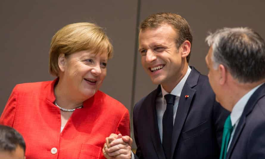 Angela Merkel. Emmanuel Macron and Viktor Orbán during the second day of an European Council summit in Brussels, Belgium.
