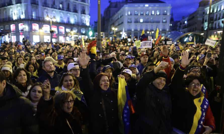 People protest against Venezuela's Nicolás Maduro in Madrid, Spain.