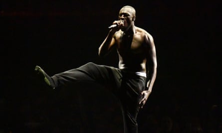 Pure energy … Stormzy is the final performer at this year's Brit awards.