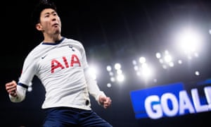 Son Heung-min celebrates what proved to be the winner, scored from the penalty spot.